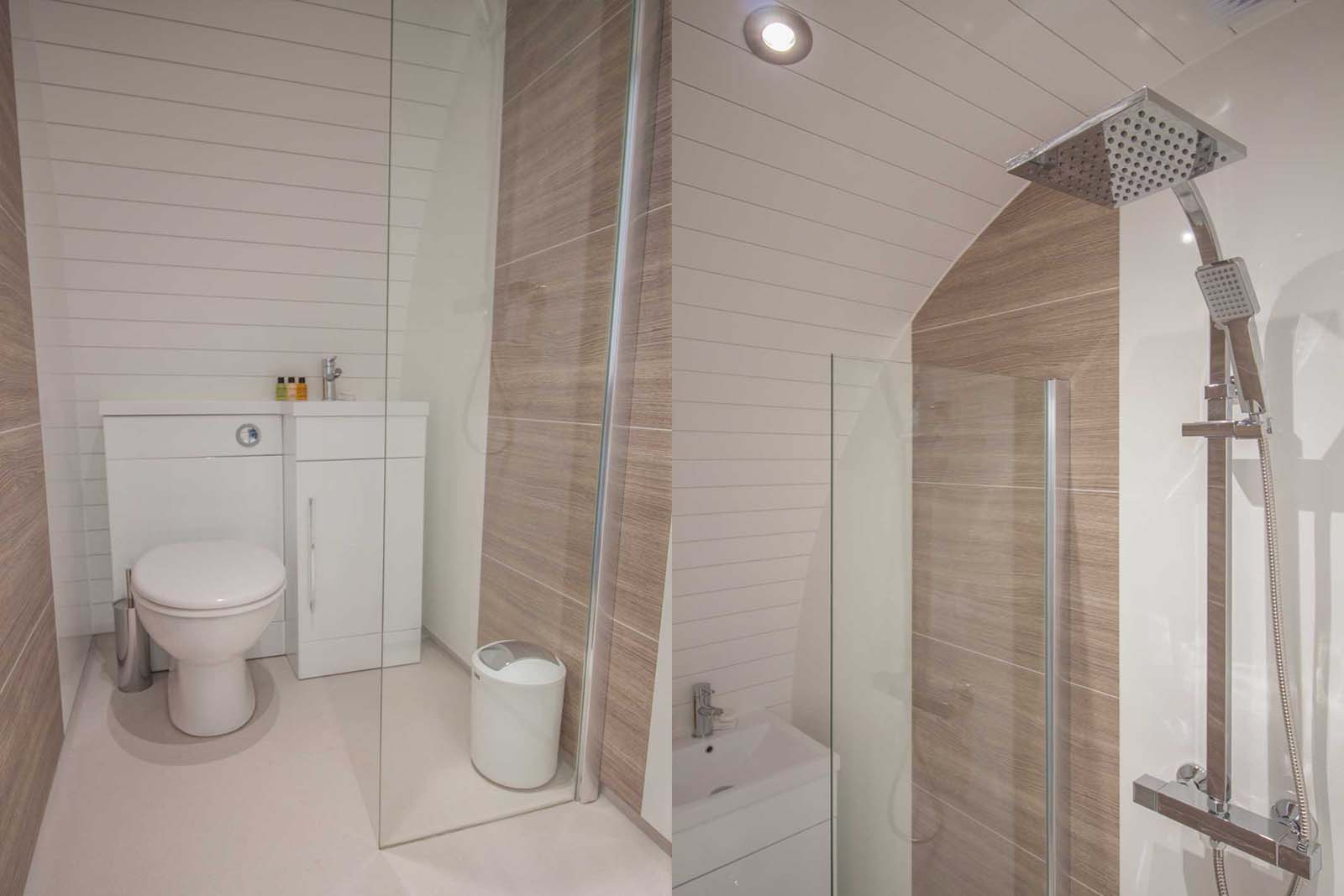 Glamping pod with bathroom